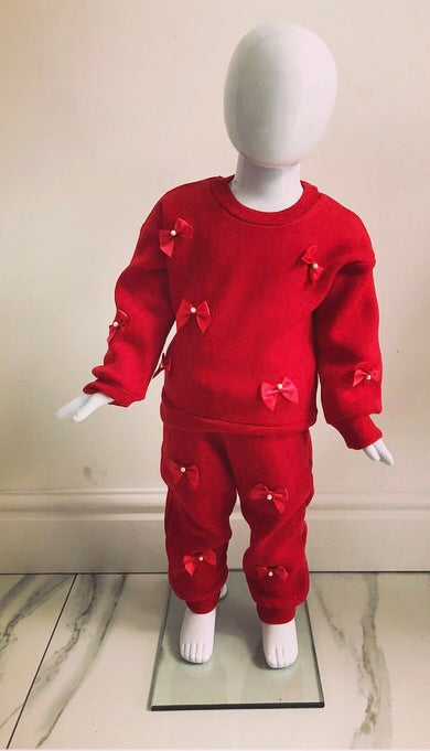 Red Amelie Bow Tracksuit