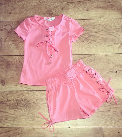 Coral Lace Up Shorts Set