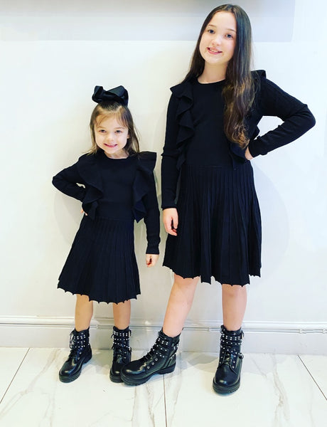Black Adley Knitted Frill Dress