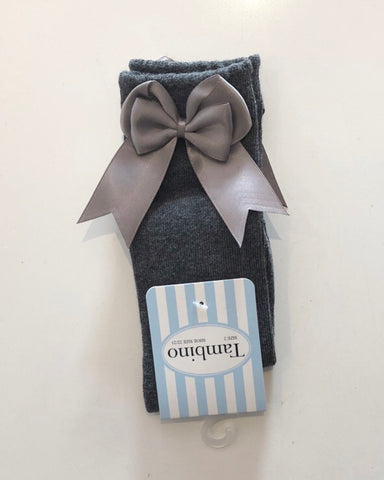 Grey Double Bow Knee Socks