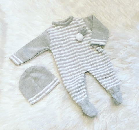 Grey Pom Pom Romper with Hat