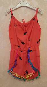 Coral Lipstick Playsuit