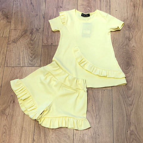 Yellow Fifi Frill Shorts Set