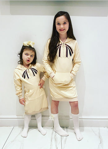 Beige Sancia Bow Hoodie Dress