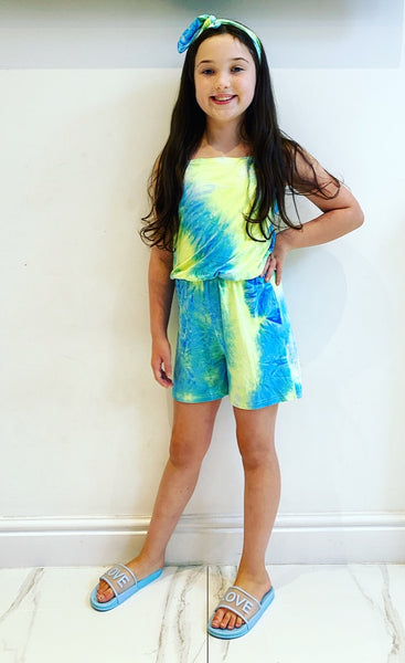 Blue Capri Playsuit with Headband