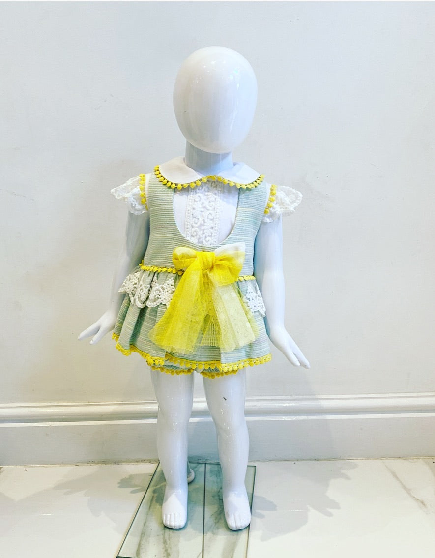 Naxos Gianna Baby Girls Pinafore Dress With Knickers