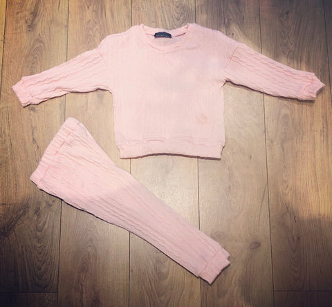 Pink Saphine Knitted Style Tracksuit