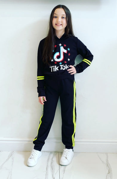 Black Tik Tok Striped Tracksuit