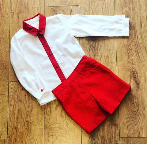 Red Avila Shorts & Shirt Set
