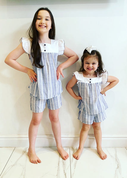 Blue Ayla Striped Shorts Set