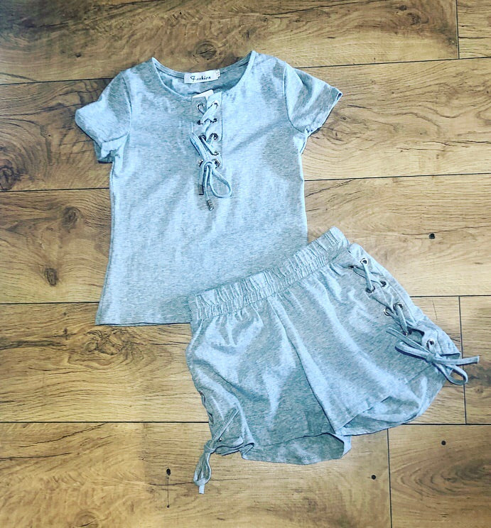 Grey Lace Up Shorts Set