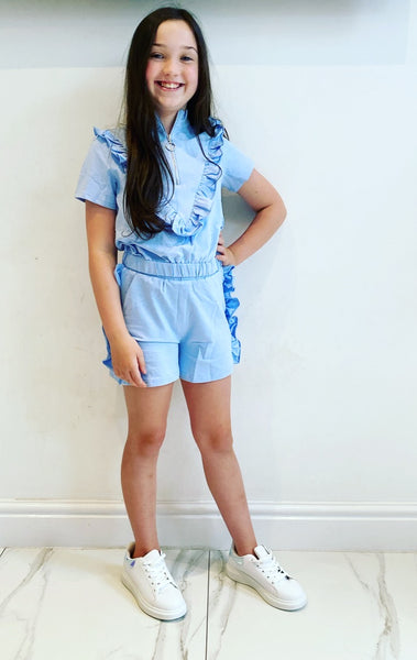 Blue Eloisa Ruffle Shorts Set