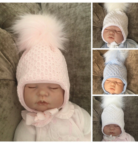 Baby Knitted Tie Pom Hat