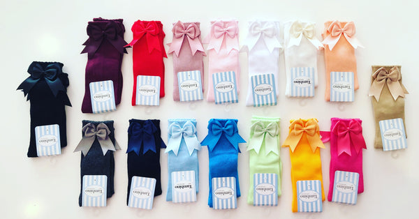 White Double Bow Knee Socks