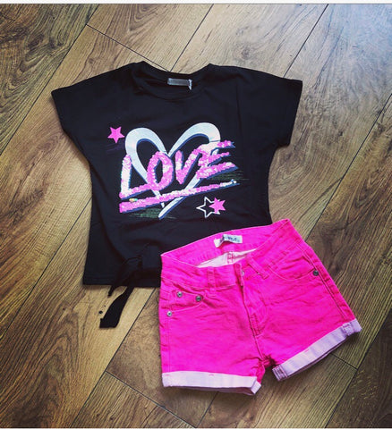 Bright Pink Amor Shorts Set