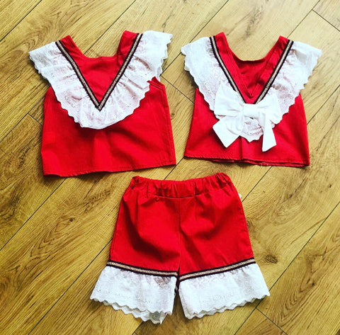 Red Orella Bow Back Shorts Set