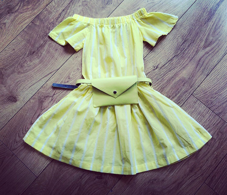 Yellow Lauret Dress with Purse