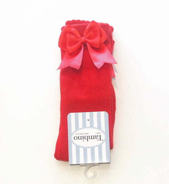 Red Double Bow Knee Socks