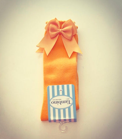Orange Double Bow Knee Socks