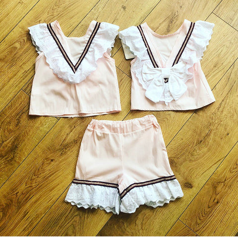 Pink Orella Bow Back Shorts Set