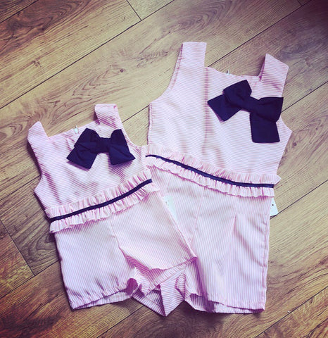 Pink Dahlia Bow Playsuit