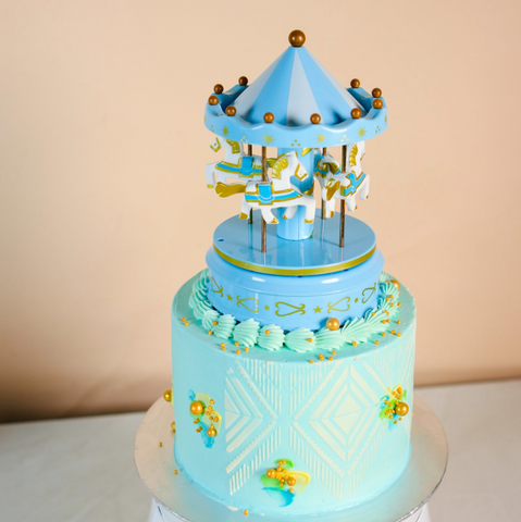 Musical Merry Go Round Blue Cake 5.5 inch by Kanteen's Kitchen | Cake Together | Birthday Cake Delivery