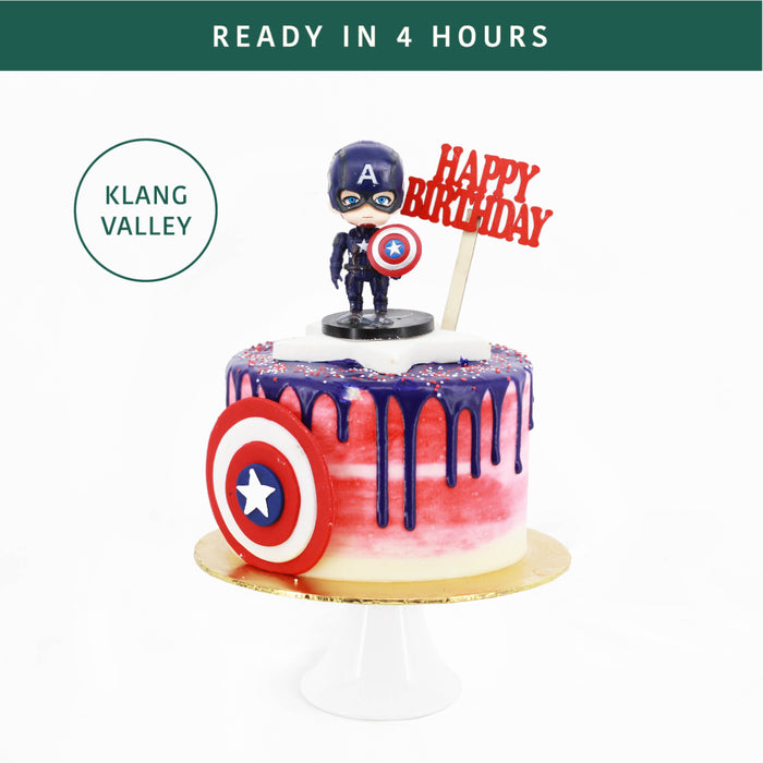 Tremendous Captain America Cake Together Online Birthday Cake Delivery Personalised Birthday Cards Veneteletsinfo