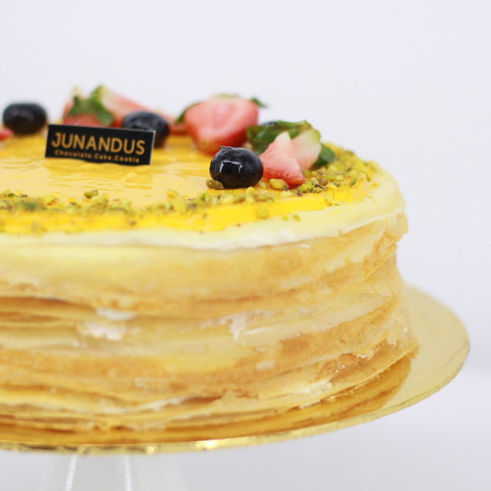 Mango and Passion Fruit Mille Crepe 8 inch - Cake Together - Online Birthday Cake Delivery