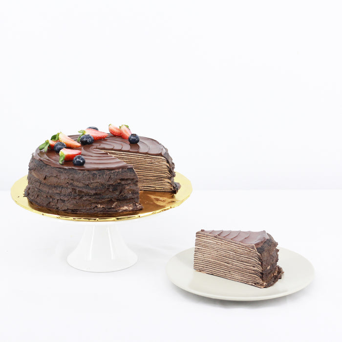 Triple Chocolate Mille Crepe 8 inch - Cake Together - Online Birthday Cake Delivery