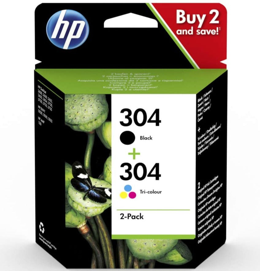 HP 3JB05AE 304 Original Ink Cartridges, Black and Tri-Colour, Multipack