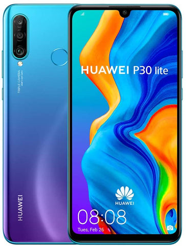 Huawei P30 Lite (128GB 6.15 inch FHD Dewdrop Display,  48MP AI Ultra-wide Triple Camera, 4GB RAM, Android 9.0 Sim-Free,  Single Sim) - Peacock Blue