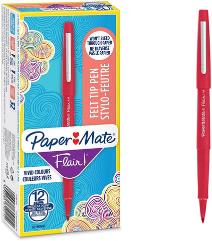 Paper Mate Flair Felt Tip Pens | Medium Point (0.7mm) | Red | 12 Count