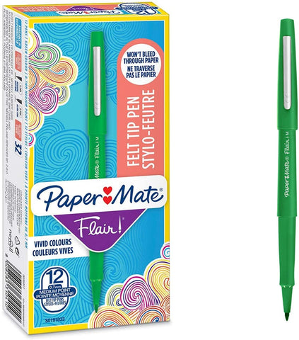 Paper Mate Flair Felt Tip Pens | Medium Point (0.7mm) | Green | 12 Count