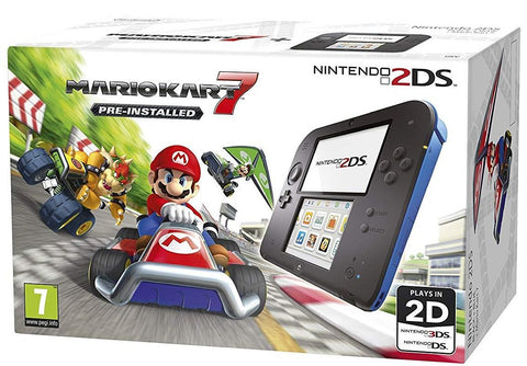 Nintendo 2DS - Black / Blue - with Pre-installed Mario Kart 7
