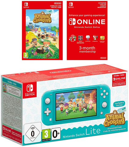 Nintendo Switch Lite Animal Crossing New Horizons + NSO Bundle - (Turquoise)