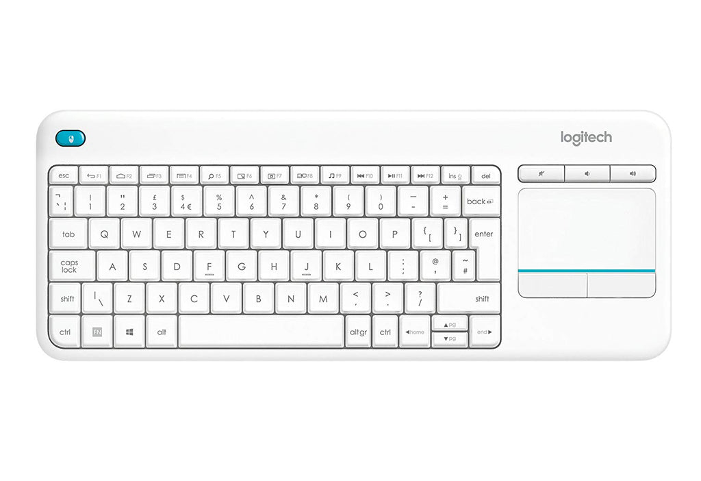 Logitech K400 Plus Wireless Touch Keyboard for Windows, Android and Chrome  - White
