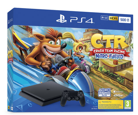 Sony PS4 500GB (Jet Black) - Crash Team Racing Nitro-Fueled Bundle