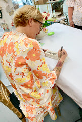 Nora Fleming signing cracker tray at signing event 2019 Findlay Rowe Designs