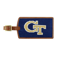 Smathers & Branson  Needlepoint Luggage Tag with GT logo letters in Gold with Navy background