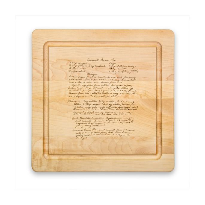 Personalized Heirloom Recipe layered onto cutting Board