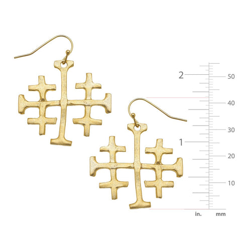 Susan Shaw LARGE JERUSALEM CROSS DANGLE EARRINGS