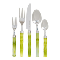 Caspari - Bamboo Handle 5-Piece Stainless Steel Picnicware Set in Green, Laid Flat