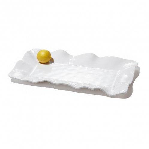 VIDA Havana White Long Rectangular Platter with lemon for size comparison