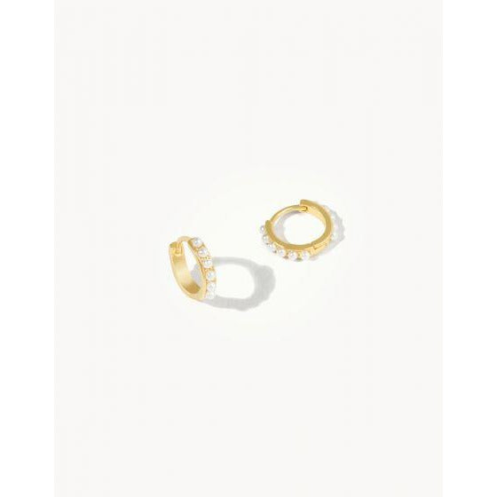 Spartina 449 - Gold/Crystal Delicate Huggie Hoop Earrings, Front View