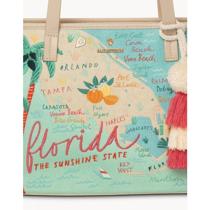 Spartina 449  FLORIDA EMBROIDERED FRINGE TOTE CLOSE UP