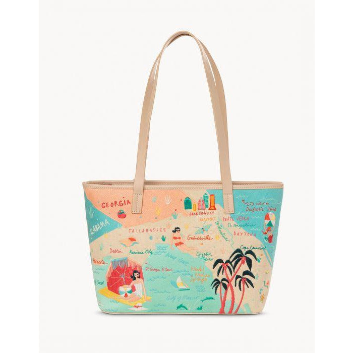 Spartina 449  FLORIDA EMBROIDERED FRINGE TOTE BACK VIEW
