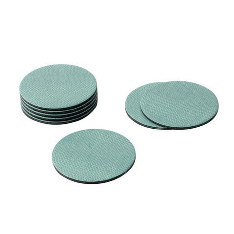 Caspari -  Round Snakeskin Felt-Backed Coasters in Mist - 8 Per Box
