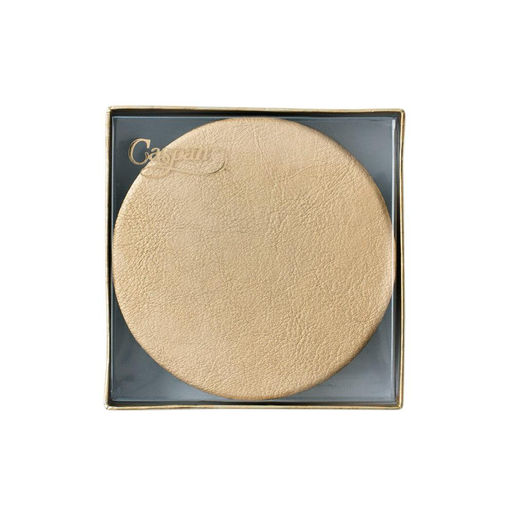 Caspari - Round Leather Felt-Backed Coasters in Gold - 8 Per Box