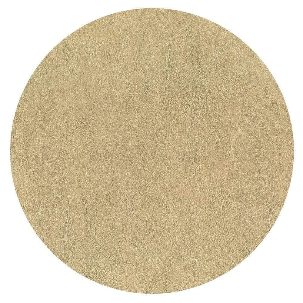 Caspari - Round Leather Felt-Backed Placemat in Gold - 1 Each