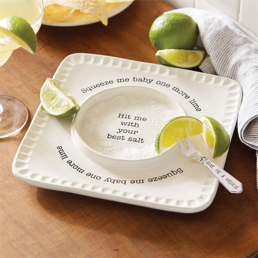 MUD PIE - LIME & SALT RIMMER SET with Limes - fork is embossed with Give me a wedgie